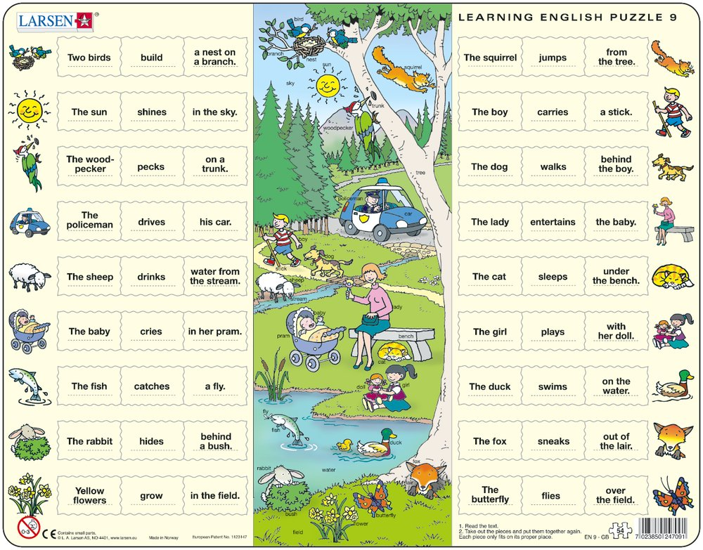 Angličtina, slovíčka – 09. Deti sa hrajú v lesoparku pri lese (s kratšími vetami) – Náučné puzzle, anglické slovíčka
