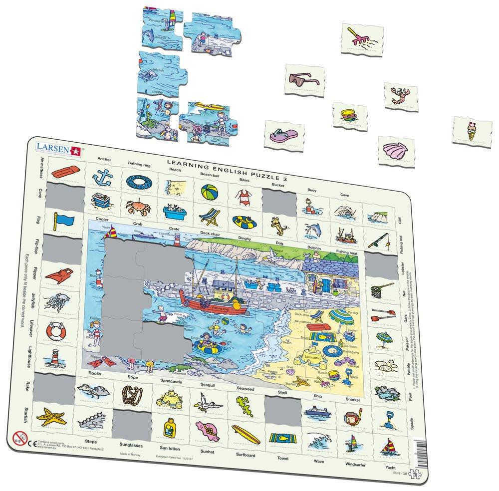 Angličtina, slovíčka – 03. Deti sa hrajú na morskej pláži a na pobreží mora – Náučné puzzle, anglické slovíčka