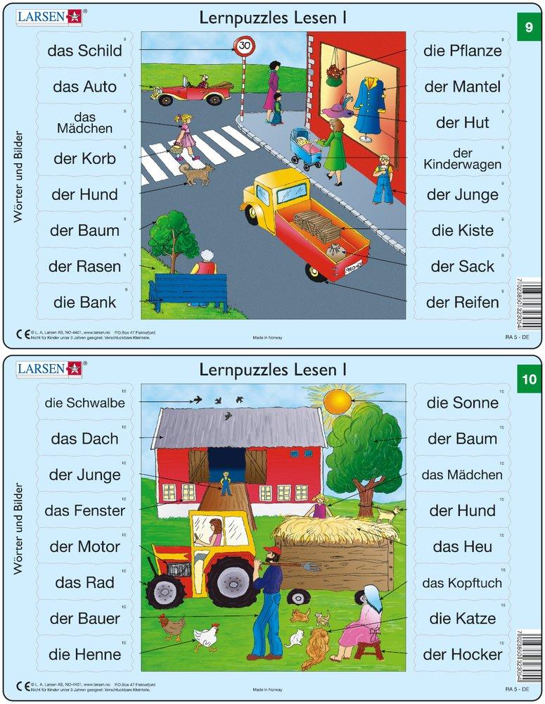 Predáva sa len v balíku 10 ks puzzle Nemčina 01 - 10 / Nemčina  09 – Nemecké slovíčka, Na ulici, ľudia na chodníku, autá na ceste, obchod s odevami –