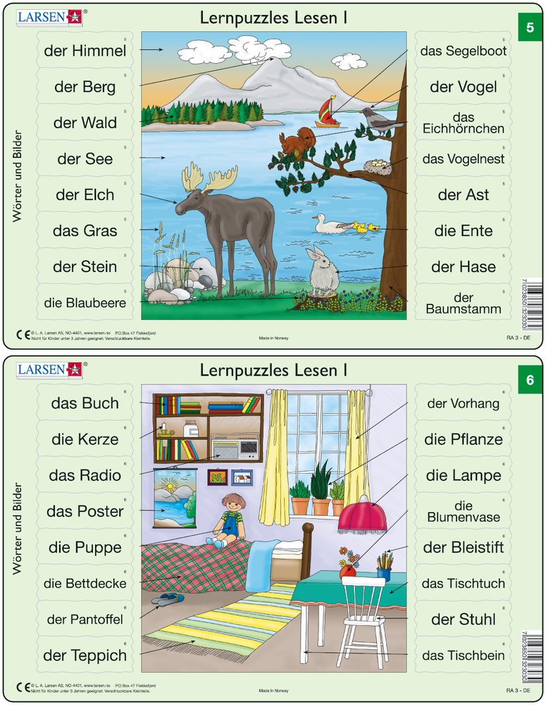 Predáva sa len v balíku 10 ks puzzle Nemčina 01 - 10 / Nemčina  06 – Nemecké slovíčka, Detská izba, detský nábytok, písací stôl, hračky – Náučné puzzl
