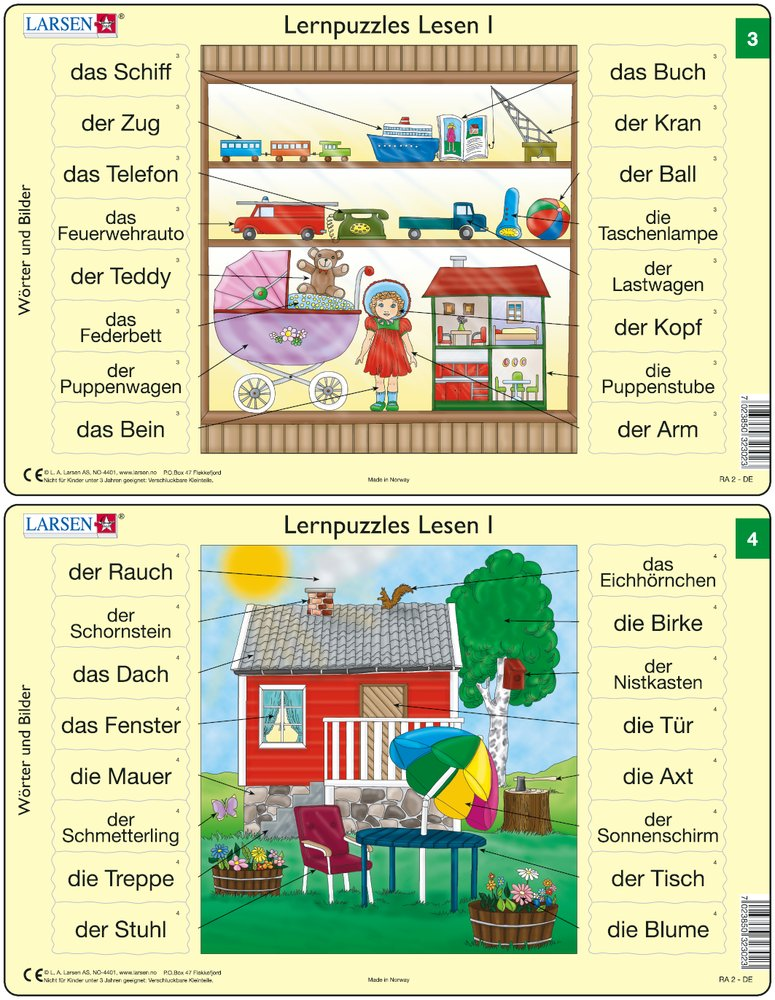 Predáva sa len v balíku 10 ks puzzle Nemčina 01 - 10 / Nemčina  03 – Nemecké slovíčka, Hračky pre deti v drevenej poličke – Náučné puzzle – JEDNO z 2