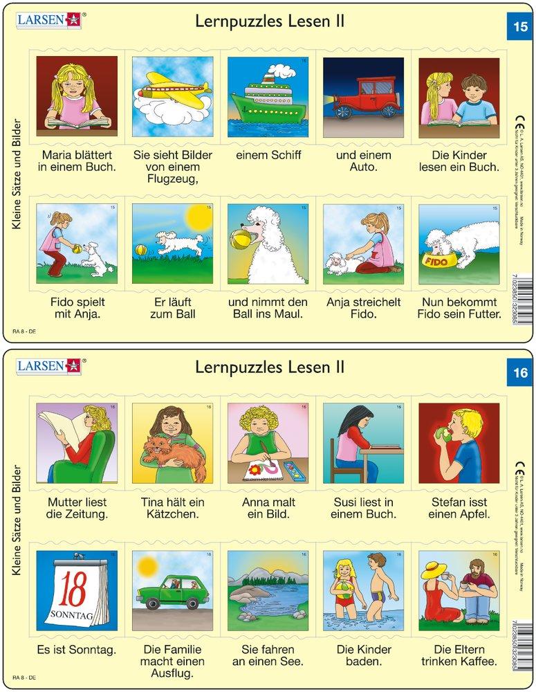 Predáva sa len v balíku 10 ks puzzle Nemčina 11 - 20 / Nemčina  15 – dve vety v obrázkoch – dievča číta knihu o doprave, dievča sa hrá so psom – Náučn