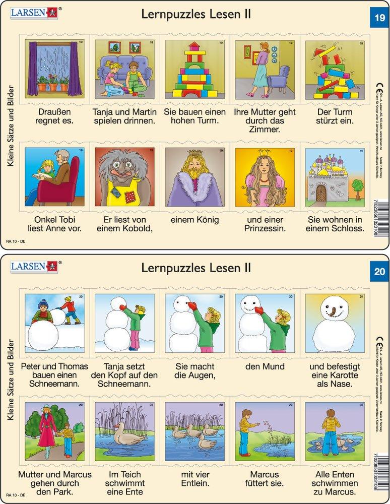 Predáva sa len v balíku 10 ks puzzle Nemčina 11 - 20 / Nemčina  19 – dve vety v obrázkoch – deti sa hrajú so stavebnicou, čítanie rozprávky o princezn