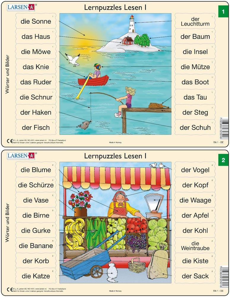 Predáva sa len v balíku 10 ks puzzle Nemčina 01 - 10 / Nemčina  02 – Nemecké slovíčka, Predajný stánok s ovocím a zeleninou – Náučné puzzle – JEDNO z