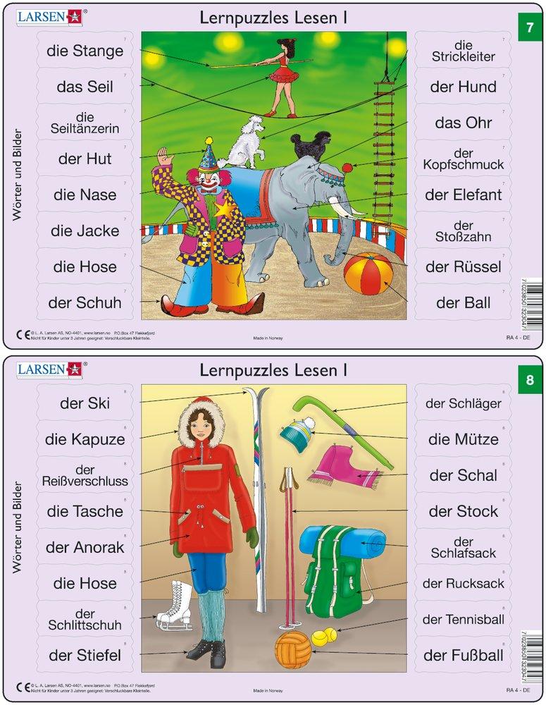 Predáva sa len v balíku 10 ks puzzle Nemčina 01 - 10 / Nemčina  08 – Nemecké slovíčka, Zimné oblečenie a zimné športy, korčule, lyže, batoh – Náučné p