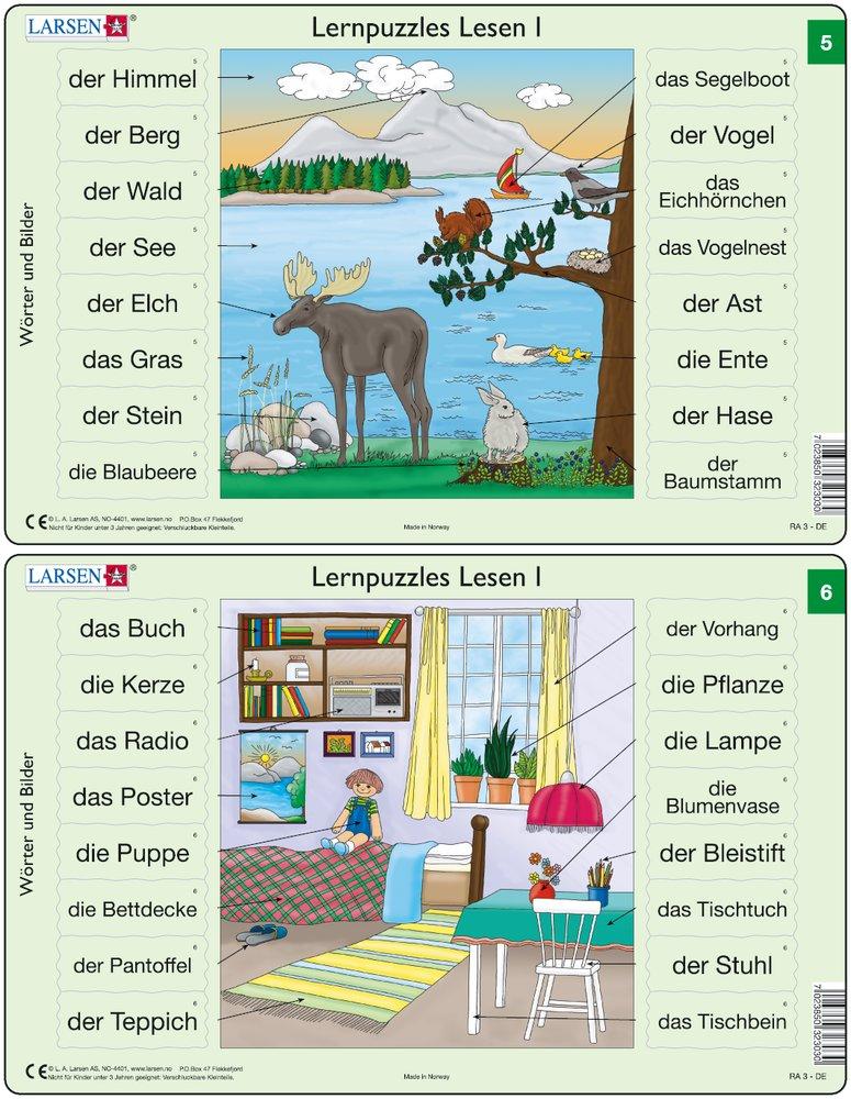 Predáva sa len v balíku 10 ks puzzle Nemčina 01 - 10 / Nemčina  05 – Nemecké slovíčka, Zvieratká pri jazere, los, zajačik, veverička – Náučné puzzle –