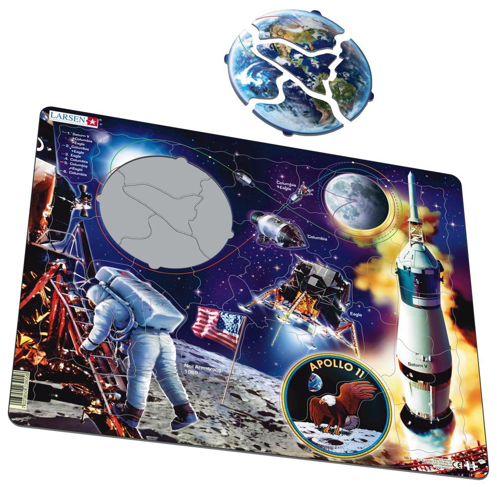 Astronómia, vesmír – Apollo 11, cesta na mesiac, pristátie na mesiaci, prvý človek na mesiaci – Náučné obrázkové puzzle