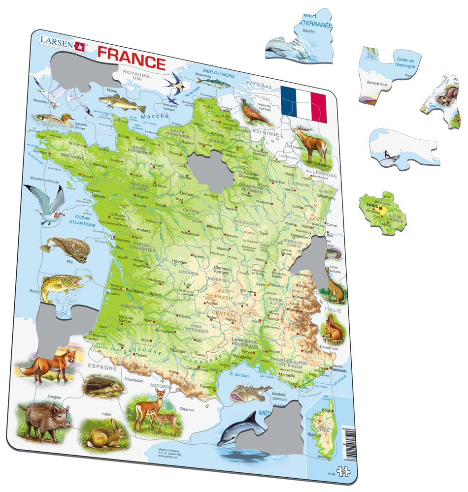 Mapy – Francúzsko, fyzická všeobecno zemepisná mapa so zvieratami – Zemepis, zemepisné puzzle