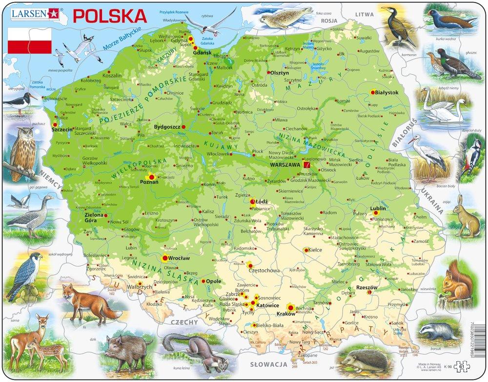 Mapy – Poľsko, fyzická všeobecno zemepisná mapa so zvieratami – Zemepis, zemepisné puzzle