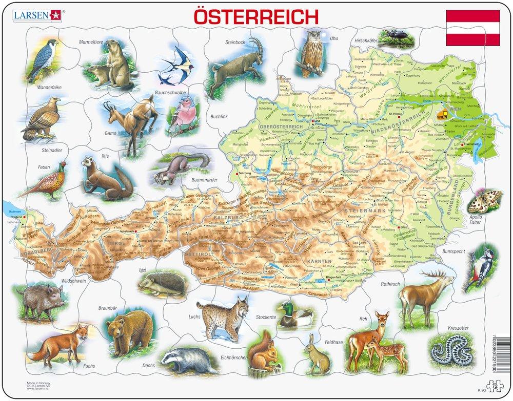 Mapy – Rakúsko, fyzická všeobecno zemepisná mapa so zvieratami – Zemepis, zemepisné puzzle