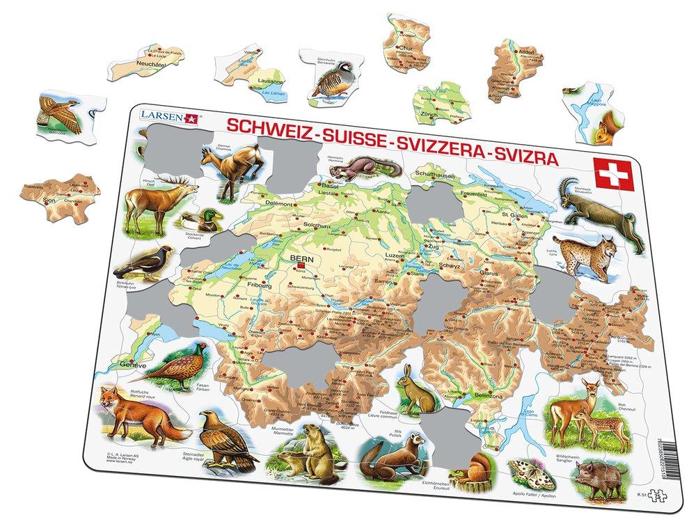 Mapy – Švajčiarsko, fyzická všeobecno zemepisná mapa so zvieratami – Zemepis, zemepisné puzzle