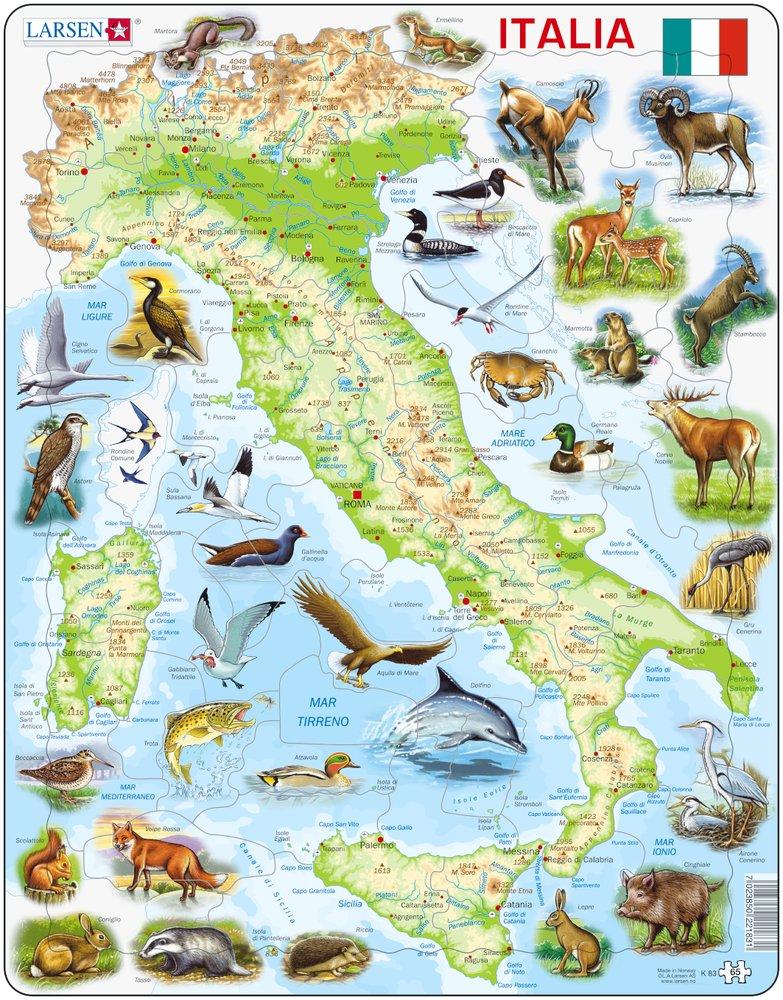 Mapy – Taliansko, fyzická všeobecno zemepisná mapa so zvieratami – Zemepis, zemepisné puzzle