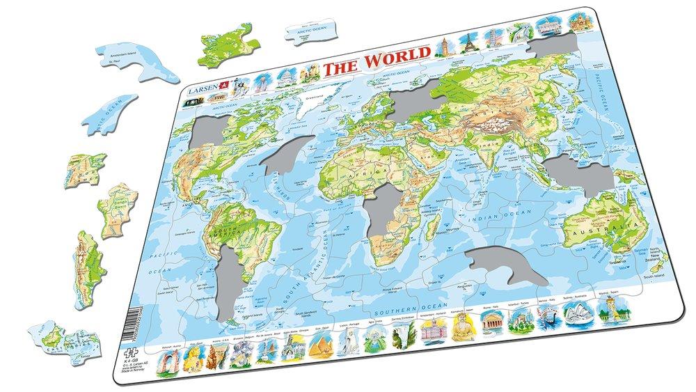 Mapy – Svet, fyzická všeobecno zemepisná mapa so stavbami rôznych krajín sveta – Zemepis, zemepisné puzzle