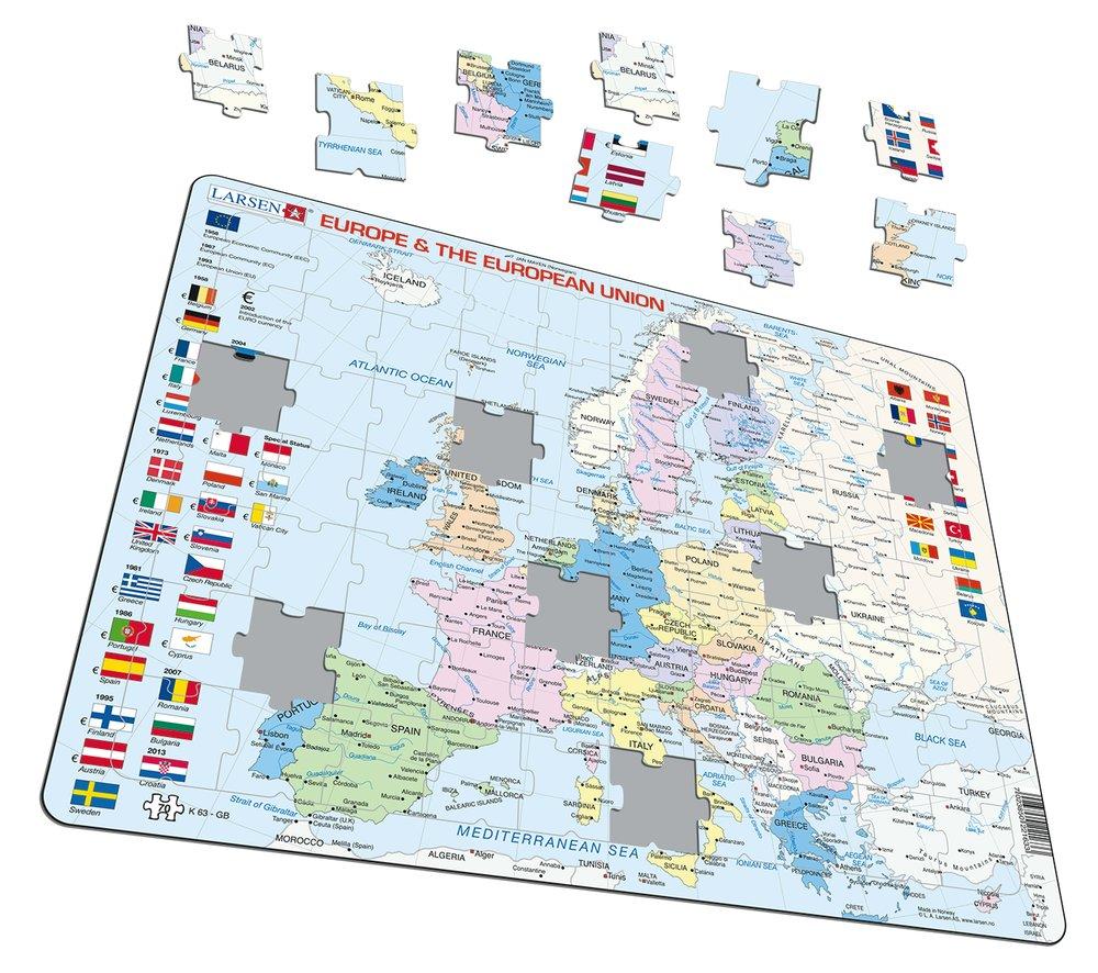 Mapy – Európa a Európska únia, politická mapa s krajinami a štátnymi vlajkami – Zemepis, zemepisné puzzle