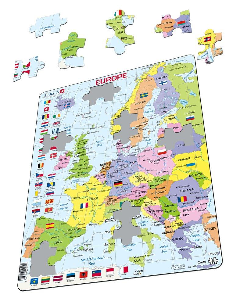 Mapy – Európa, politická mapa s krajinami a štátnymi vlajkami, na výšku – Zemepis, zemepisné puzzle