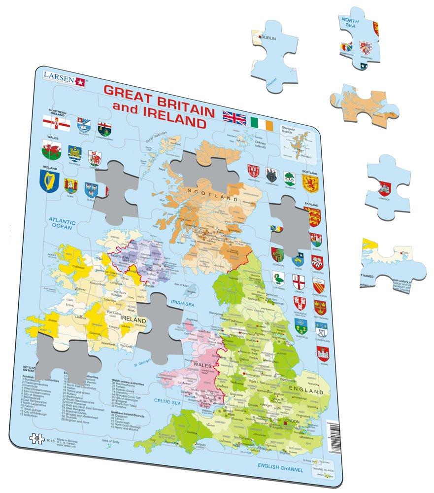 Mapy – Veľká Británia a Írsko, politická mapa s regiónmi a okresmi a znakmi, erbami regiónov – Zemepis, zemepisné puzzle