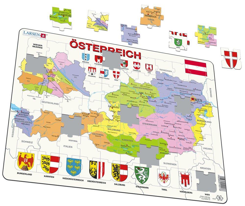 Mapy – Rakúsko, politická mapa so spolkovými krajinami, Viedeň a Viedenské okresy – Zemepis, zemepisné puzzle