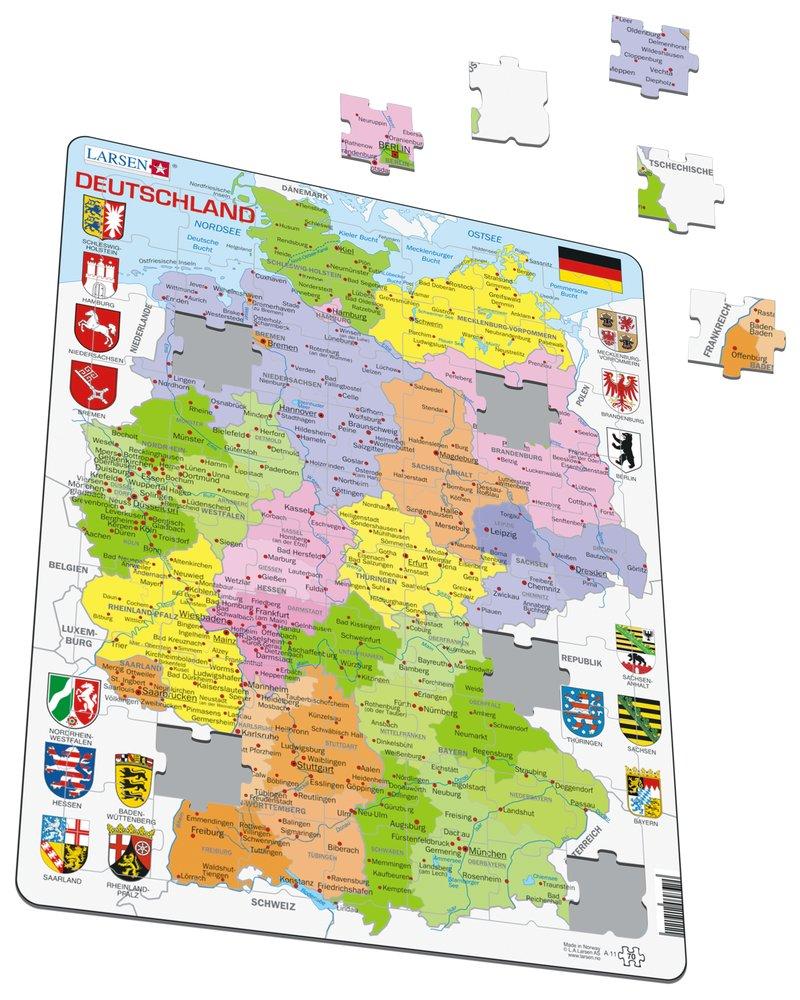 Mapy – Nemecko, politická mapa so spolkovými krajinami, okresmi a znakmi spolkových krajín – Zemepis, zemepisné puzzle