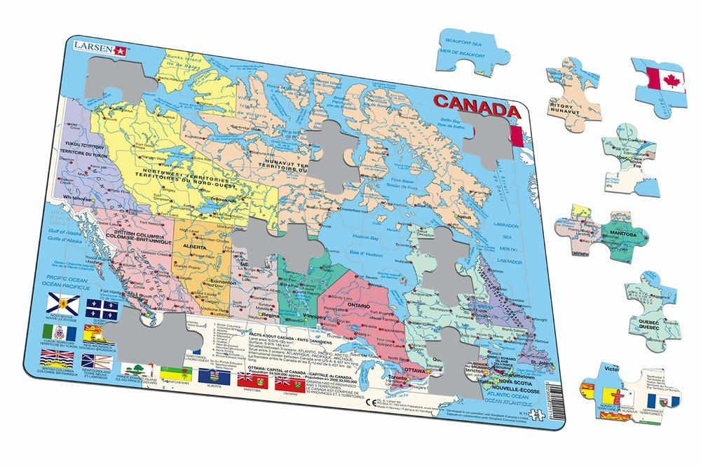 Mapy – Kanada, politická mapa s provinciami a ich vlajkami – Zemepis, zemepisné puzzle