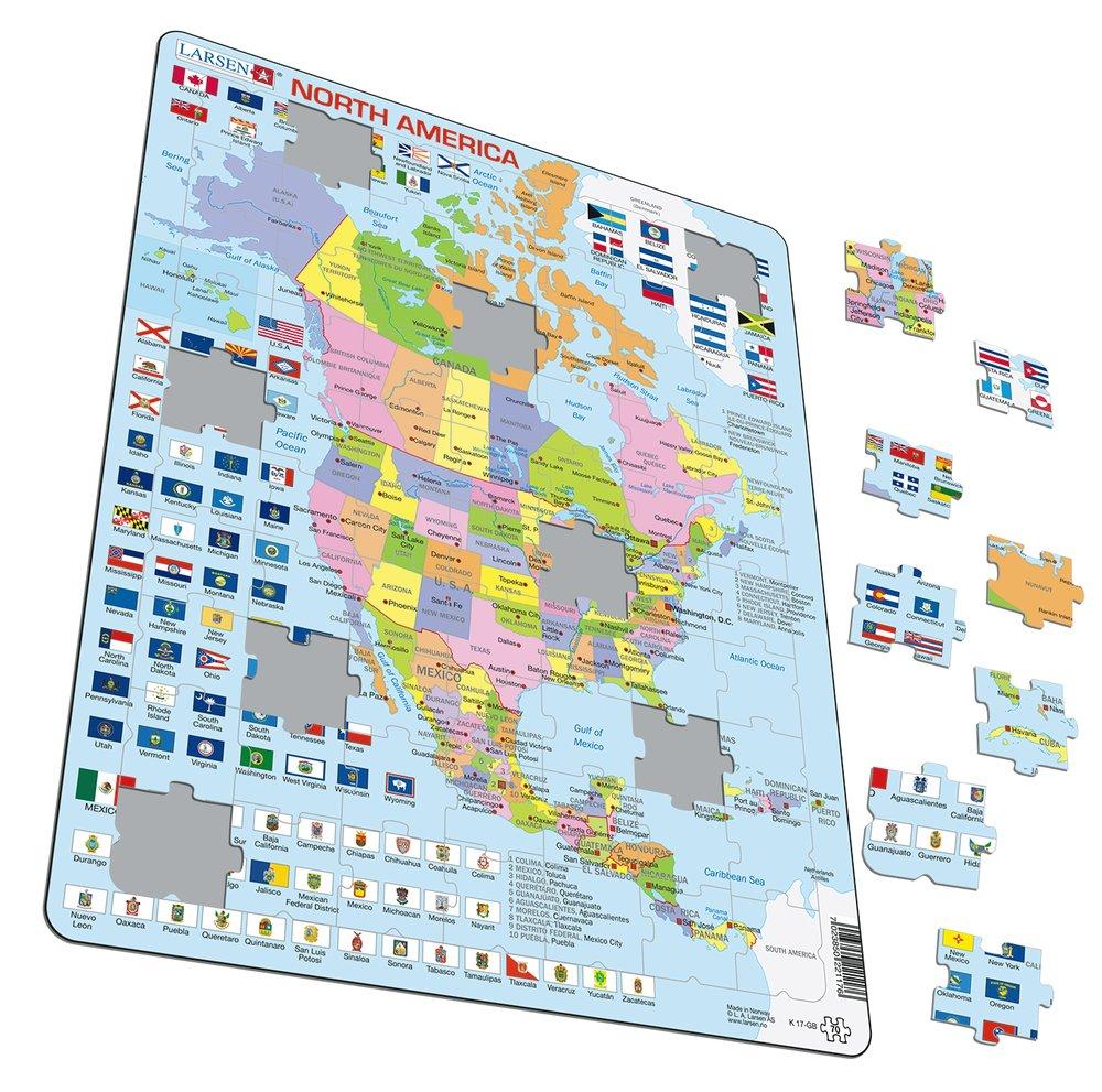 Mapy – Amerika Severná, politická mapa, krajiny so štátnymi vlajkami – Zemepis, zemepisné puzzle