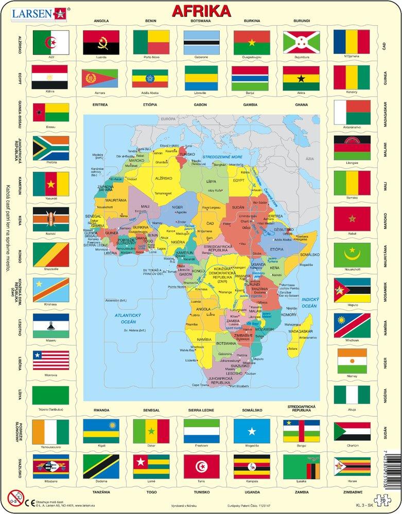 Mapy – Afrika, politická mapa s krajinami a štátnymi vlajkami – Zemepis, zemepisné puzzle