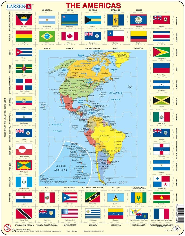 Mapy – Amerika, Severná a Južná, politická mapa s krajinami a štátnymi vlajkami – Zemepis, zemepisné puzzle