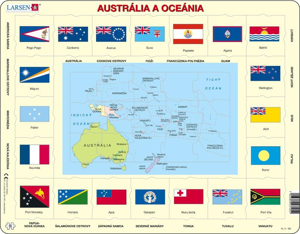 Mapy – Austrália a Oceánia, politická mapa s krajinami a štátnymi vlajkami – Zemepis, zemepisné puzzle