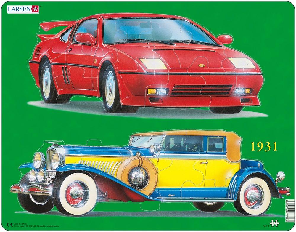 Dopravné prostriedky – Dve autá, dve menšie puzzle v jednom – Obrázkové puzzle
