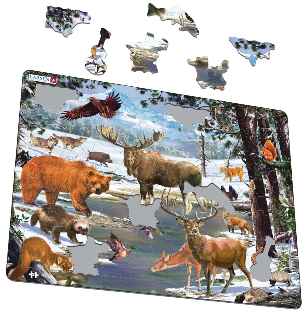 Zvieratá severské – Zasnežený severský les v zime, medveď, los, jeleň, rys, jazvec, zajac – Obrázkové puzzle