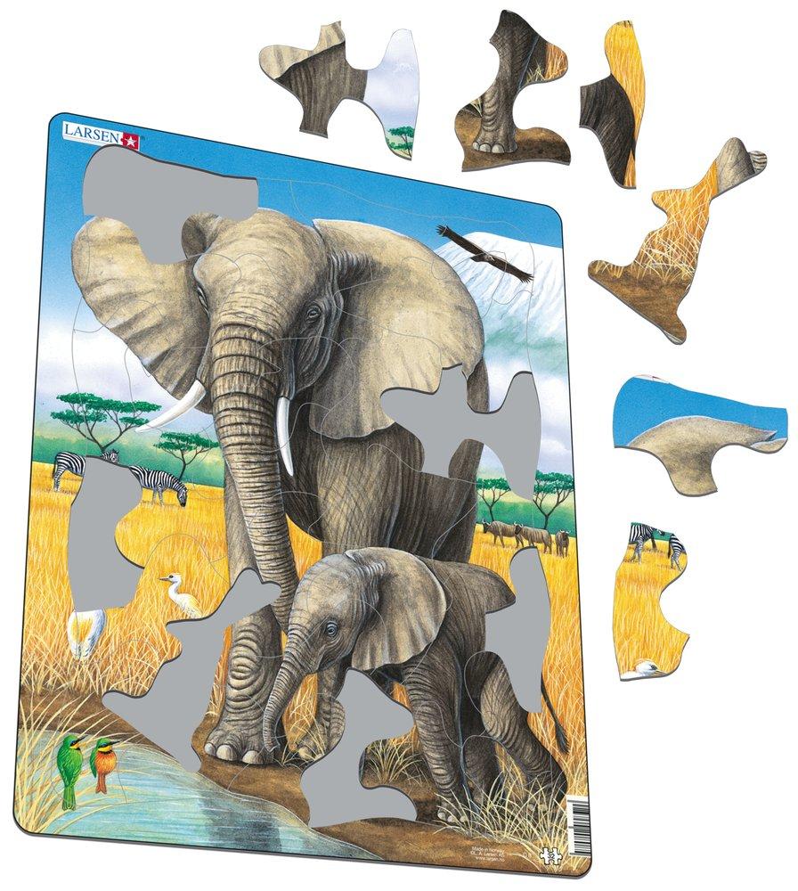Zvieratá exotické – Slony, slonica a malé sloníčatko stoja pri vode – Obrázkové puzzle