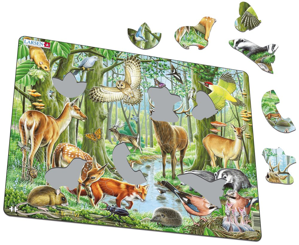 Zvieratá lesné – Európsky les, jeleň, srnec, sova, jež, ďateľ, žlna, daniel, sojka, plch, roháč – Obrázkové puzzle