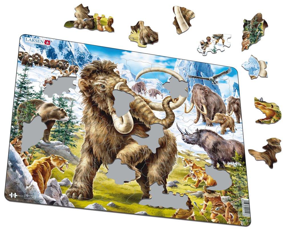 Zvieratá historické – Mamuty, šablozubé levy, praľudia, pračlovek v divočine, doba ľadová – Obrázkové puzzle