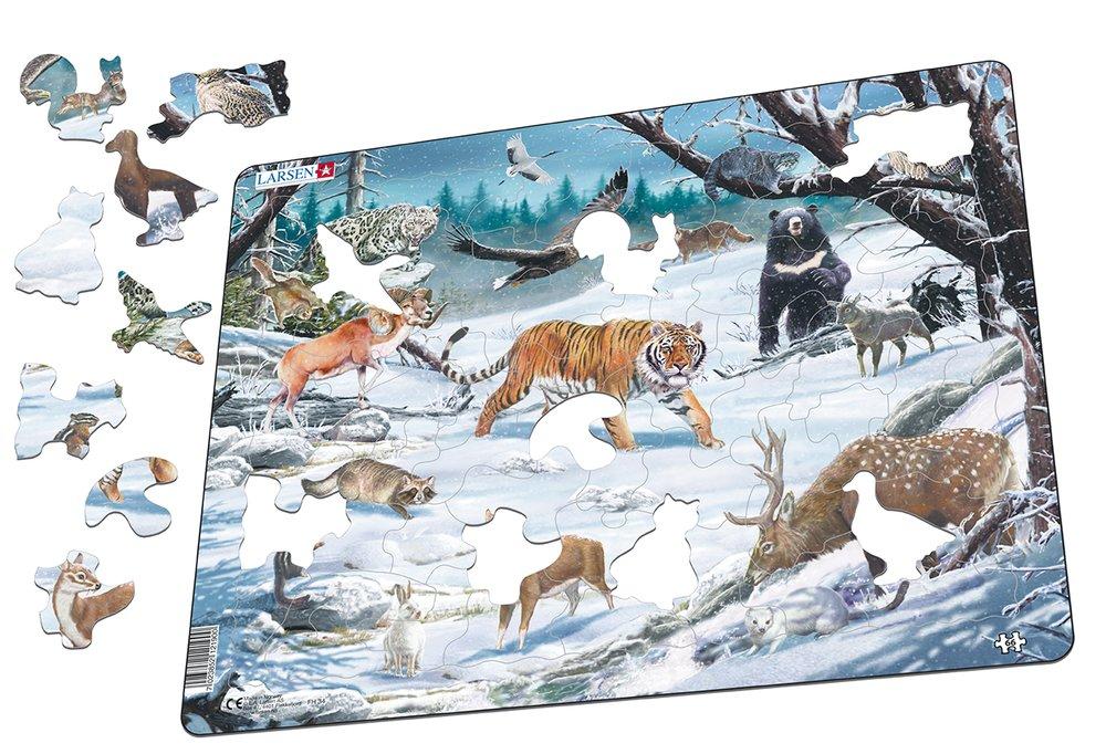 Zvieratá severské – Zasnežený sibírsky les v zime, tiger, leopard, medveď, daniel, muflón – Obrázkové puzzle