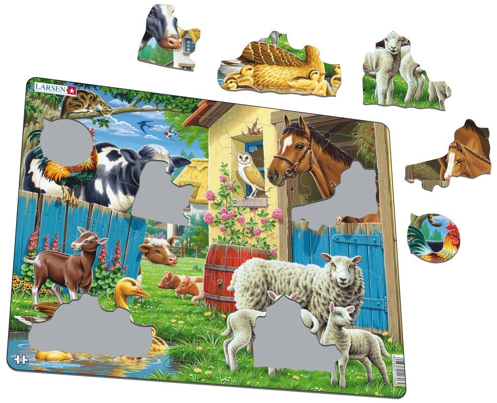 Zvieratá domáce – Na dvore, koníky, kravičky, ovečky, hus, húsatá, kohút, mačka, sova – Obrázkové puzzle