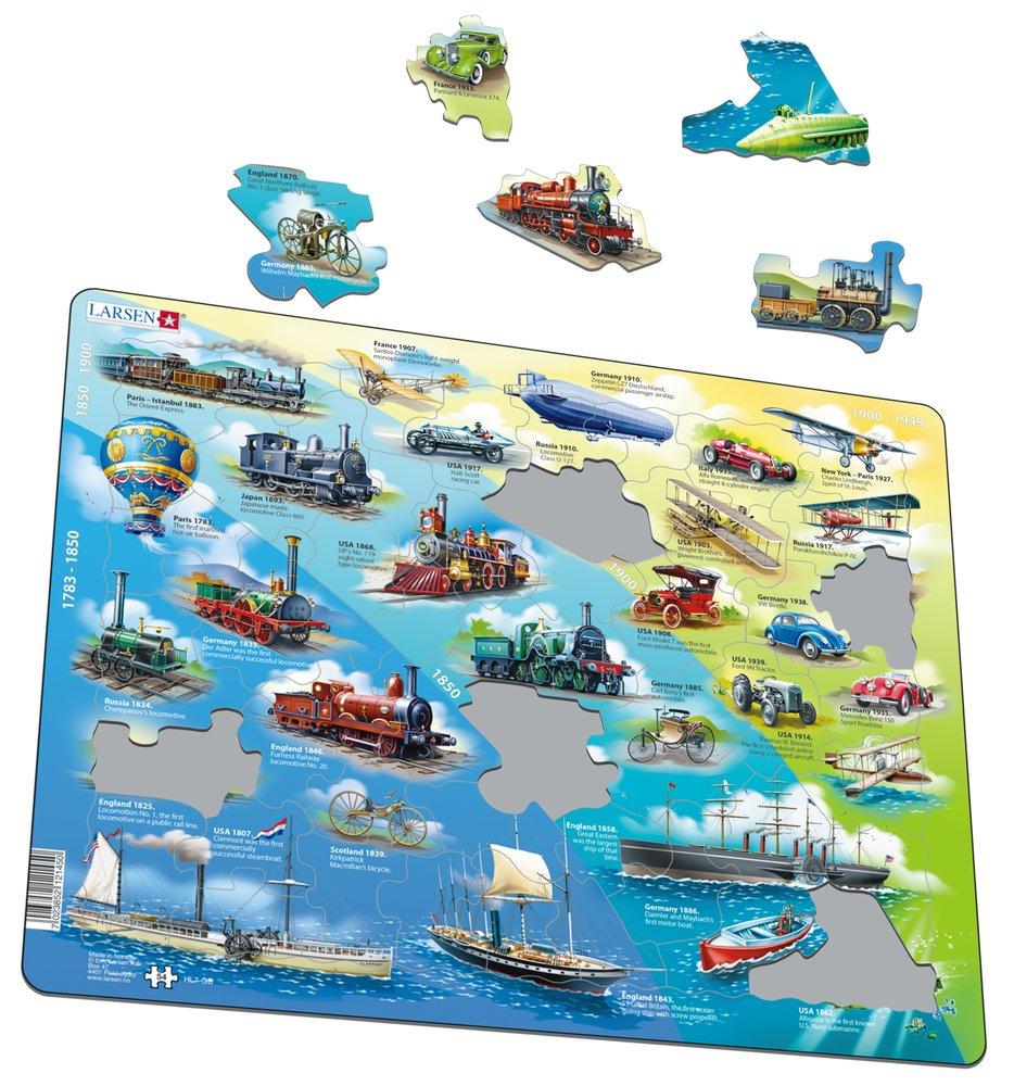 Dopravné prostriedky – Doprava, história a vývoj dopravy lode, vlaky, lietadlá, automobily – Obrázkové puzzle