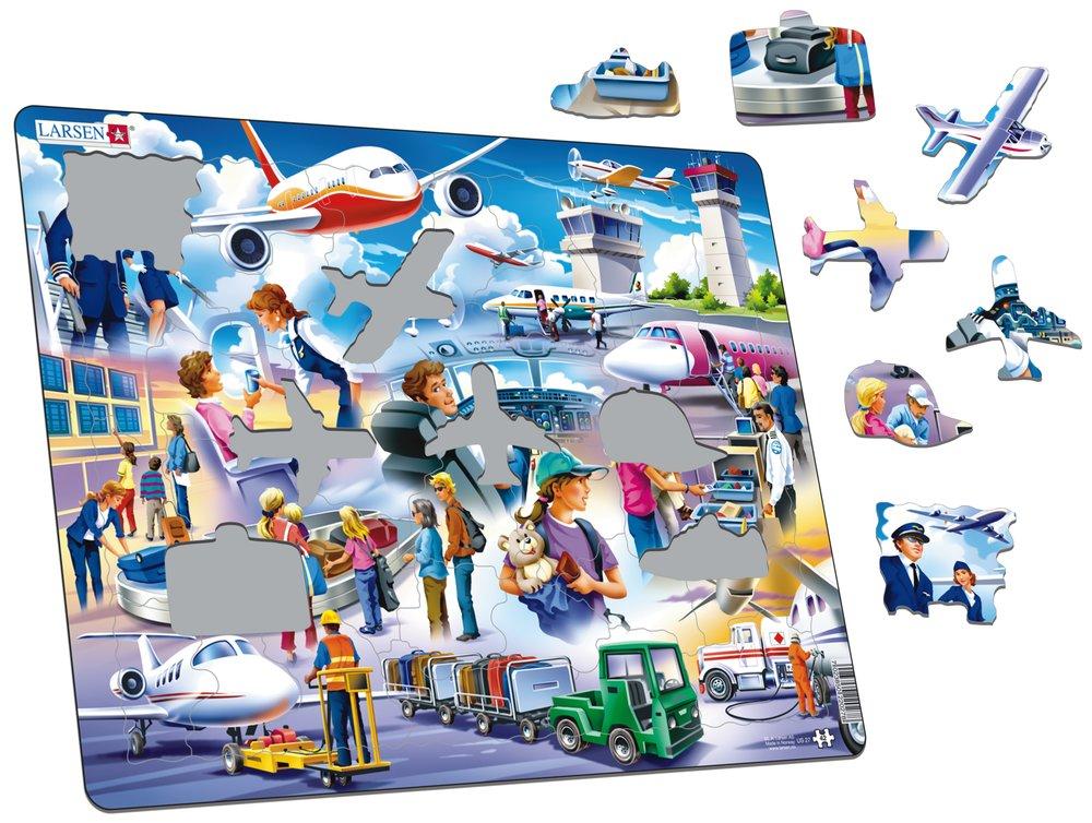 Dopravné prostriedky – Lietadlá a cestujúci lietadlom, piloti, letušky a personál na letisku – Obrázkové puzzle