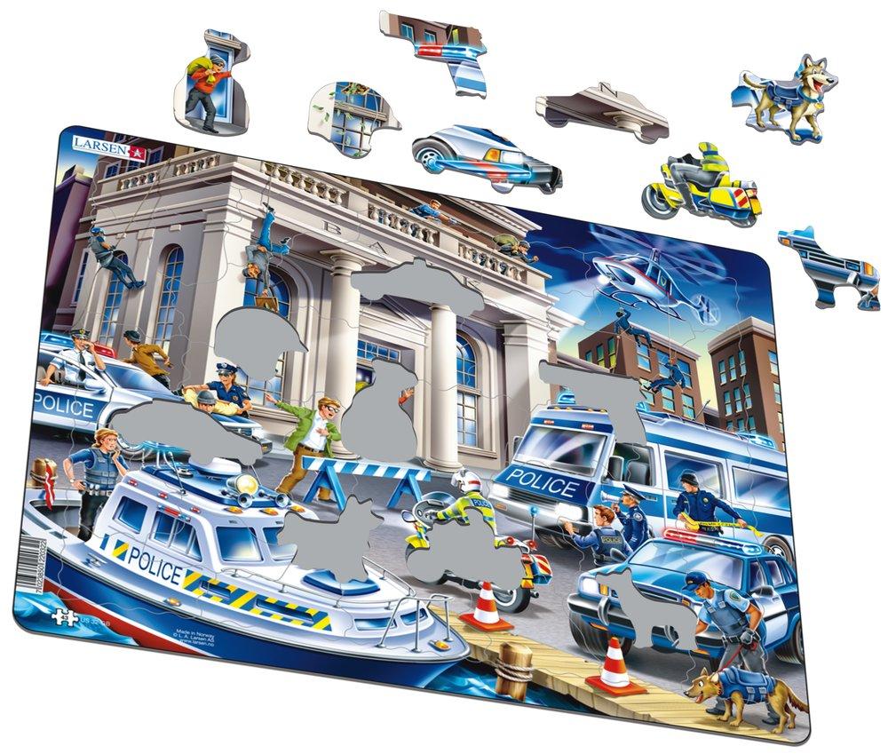 Záchranári – Polícia, policajti v akcii pri zásahu proti zlodejom, pri bankovej lúpeži – Obrázkové puzzle
