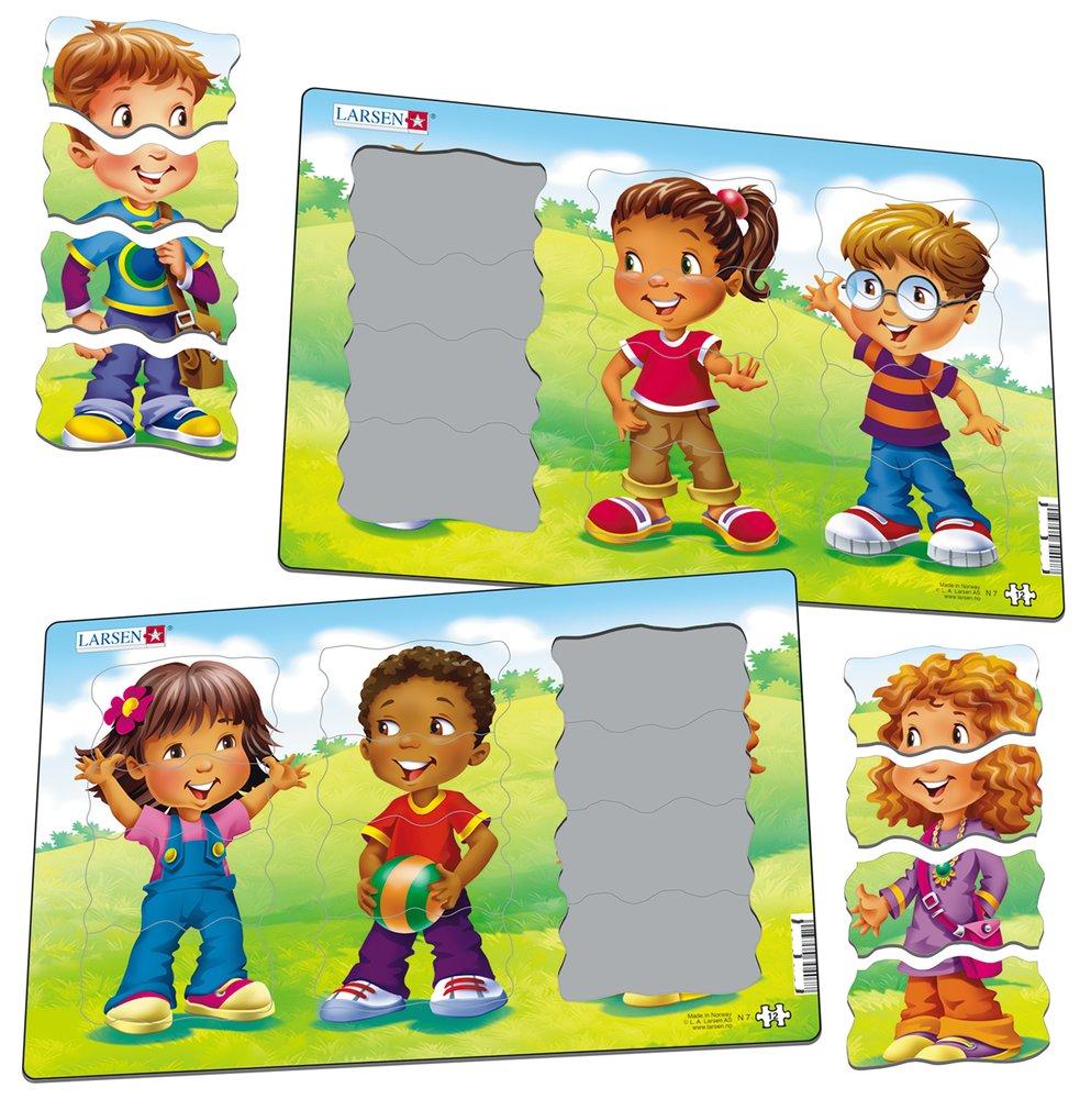 Deti, poskladaj každé dieťa zo 4 dielikov – v strede je chlapec – Obrázkové puzzle – JEDNO z 2 puzzle na obrázku DOLE