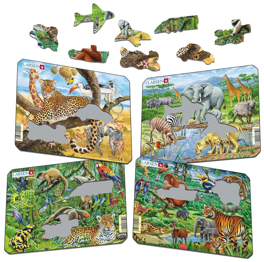 Zvieratá exotické – Africká savana, leopard, žirafa, zebry, gazely – Obrázkové puzzle – JEDNO zo 4 puzzle na obrázku VĽAVO HORE