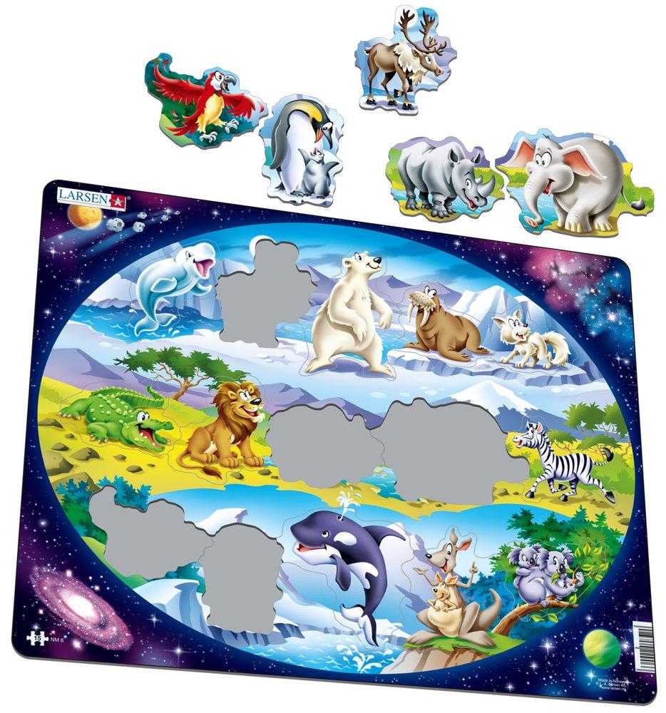 Zvieratká exotické – zvieratká sveta, sob, medveď, mrož, krokodíl, lev, slon, zebra, tučniaky, kengura, koala – Obrázkové puzzle