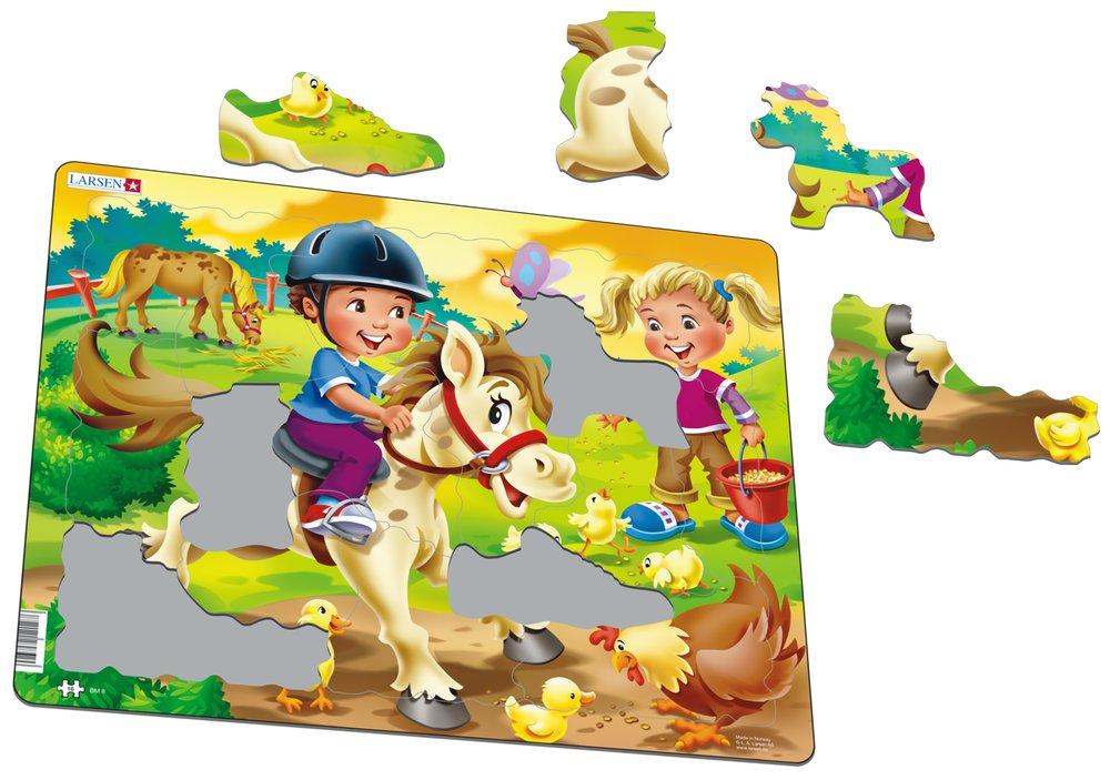Deti na farme, na statku – Koníky, kuriatka, sliepočka – Obrázkové puzzle