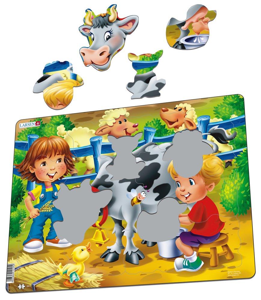 Deti na farme, na statku – Kravička, kačička, ovečky – Obrázkové puzzle