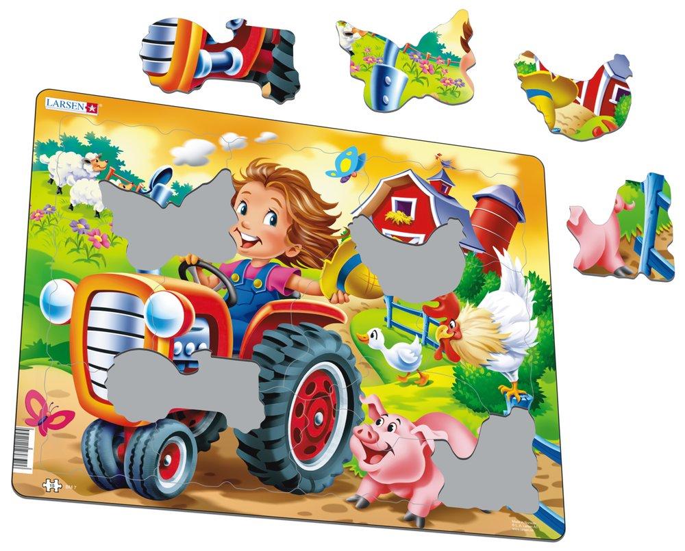 Deti na farme, na statku – Traktor, ovečky, húska, prasiatko – Obrázkové puzzle