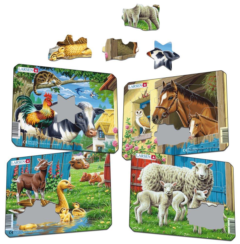 Zvieratká domáce – Kohút, kravička, mačička na dvore – Obrázkové puzzle – JEDNO zo 4 puzzle na obrázku VĽAVO HORE