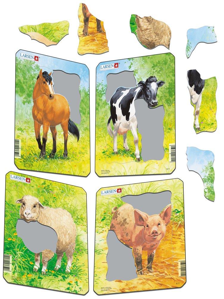 Zvieratká domáce – Kravička na lúke, na tráve – Obrázkové puzzle – JEDNO zo 4 puzzle na obrázku VPRAVO HORE