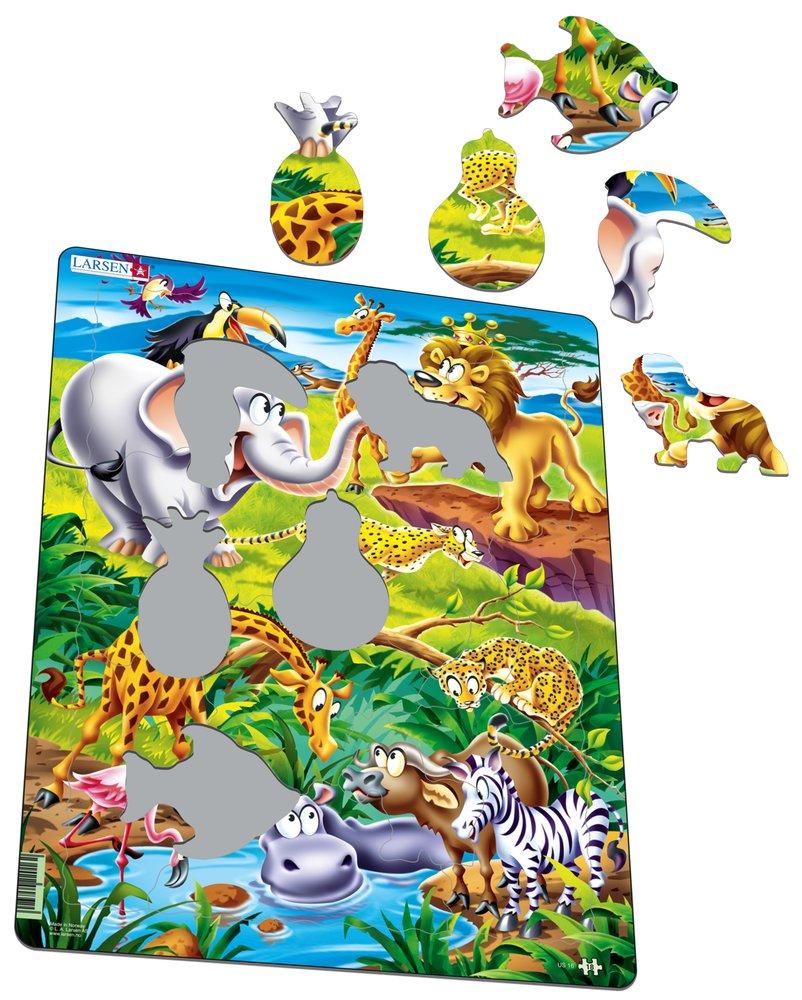 Rozprávky – Zvieratká v divočine, lev, kráľ zvierat, leopard, gepard, slon, hroch, žirafa – Obrázkové puzzle