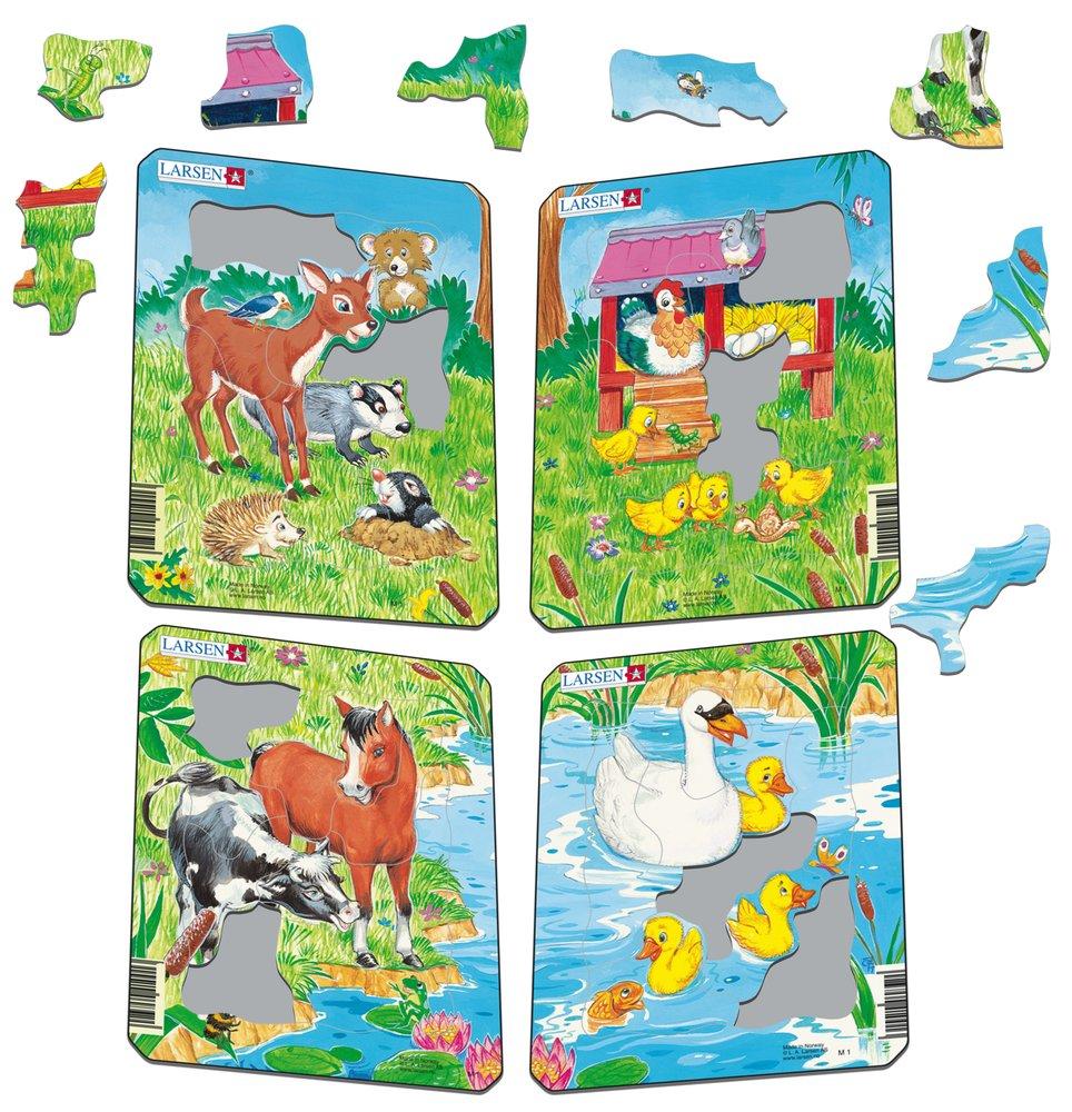 Zvieratká milé domáce – Kuriatka na lúke a sliepočka v kuríne – Obrázkové puzzle – JEDNO zo 4 puzzle na obrázku VPRAVO HORE