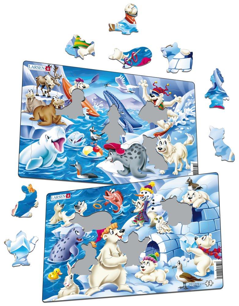 Zvieratká severské – Medvede, zajac, sova, líška, narval – Obrázkové puzzle – JEDNO z 2 puzzle na obrázku DOLE