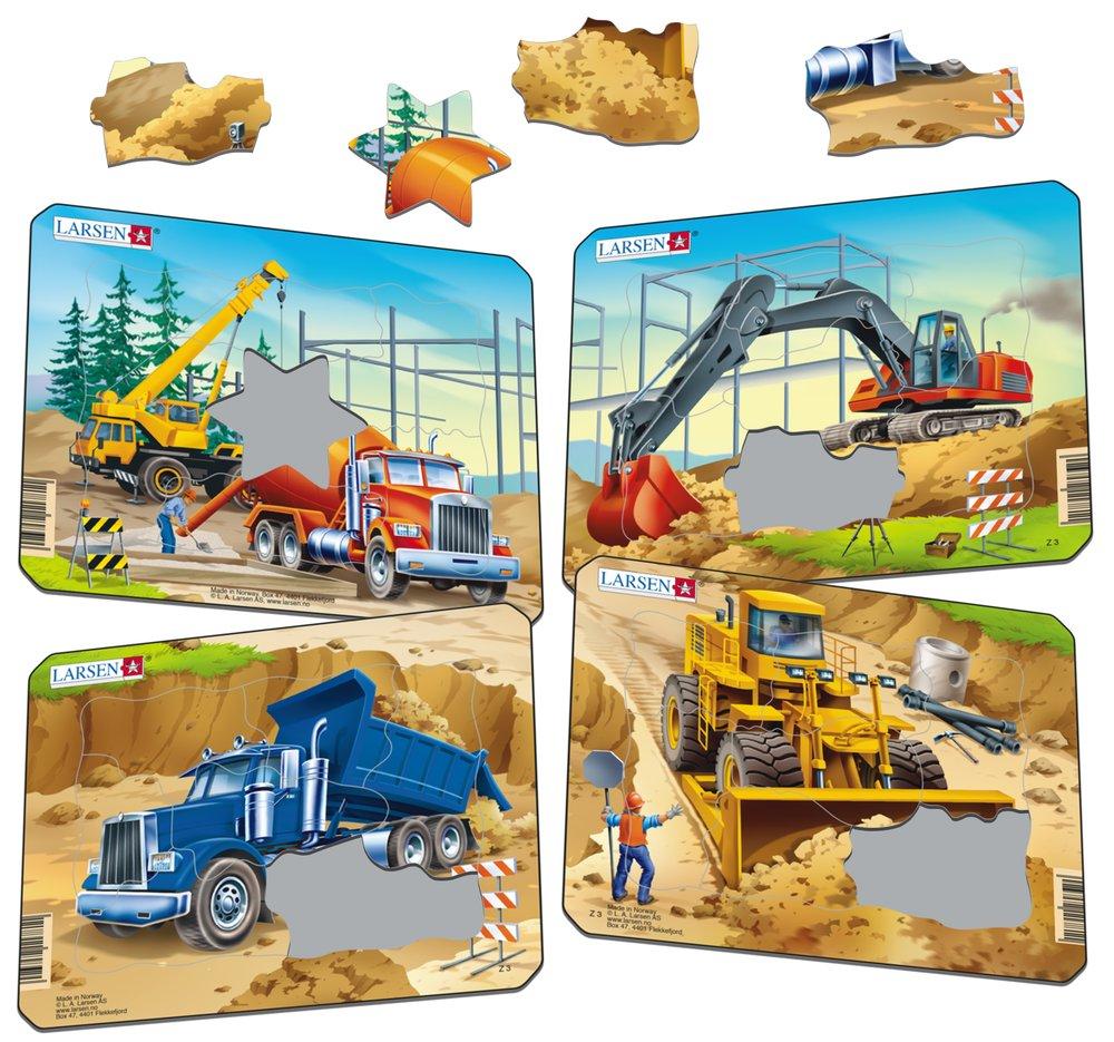 Stavebné stroje, autá – Žeriav, domiešavač – Obrázkové puzzle – JEDNO zo 4 puzzle na obrázku VĽAVO HORE