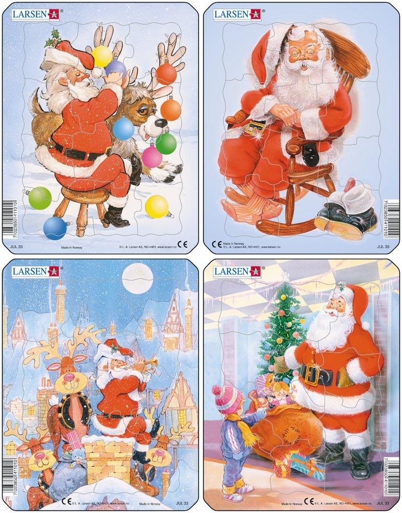 Mikuláš ( Santa Claus ) sedí na stoličke, sob leží, má vianočné gule na vianočný stromček – Obrázkové puzzle – JEDNO zo 4 puzzle na obrázku VĽAVO HORE